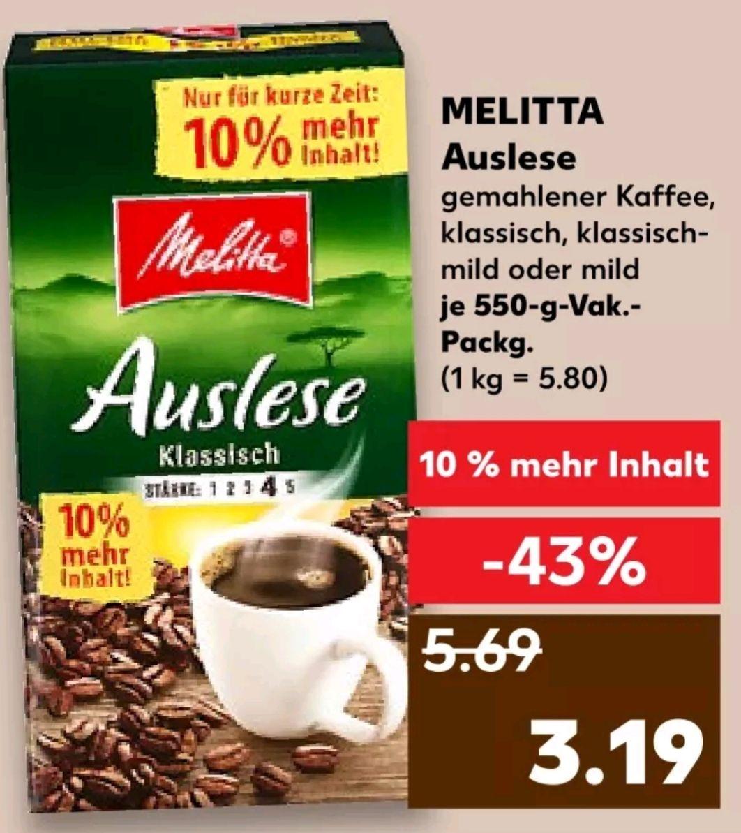 Kaufland Melitta Auslese Kaffee mit 10% Gratis Inhalt 550g