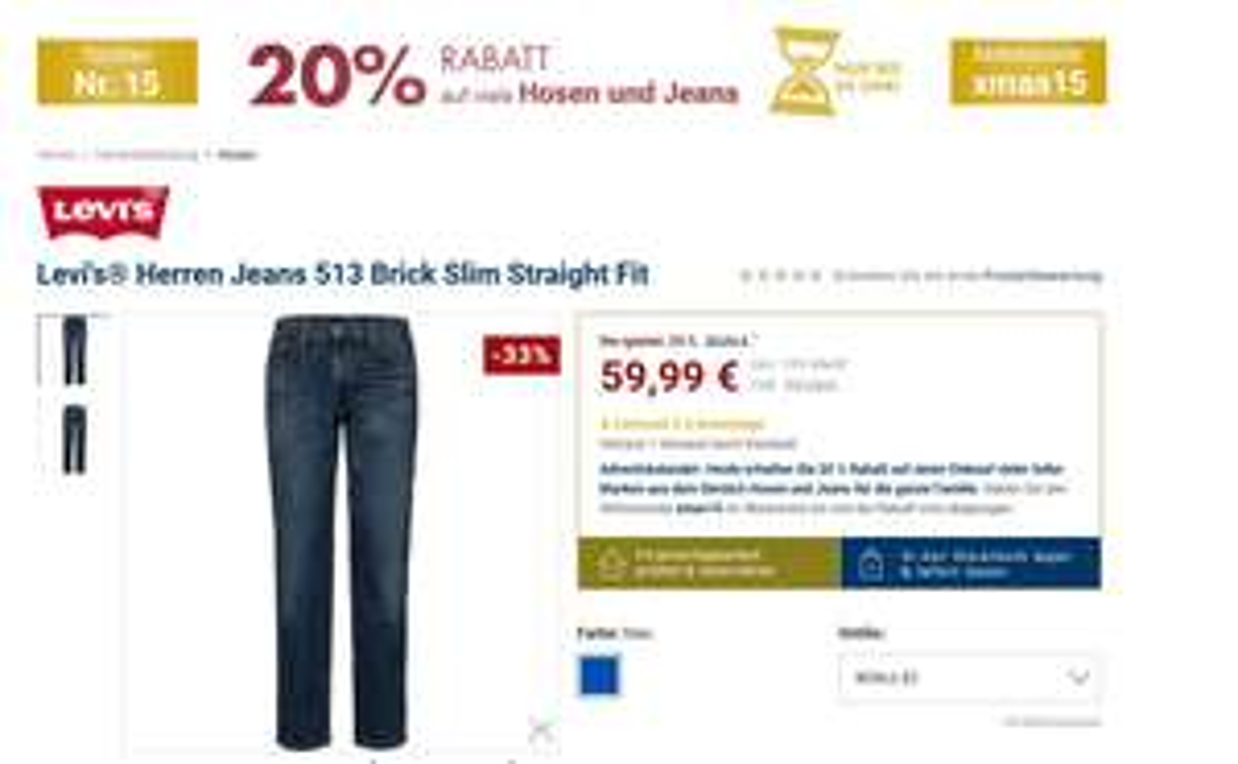 KARSTADT 20% Rabatt auf tolle Marken aus dem Bereich Hosen & Jeans LEVI´s, Wrangler etc.