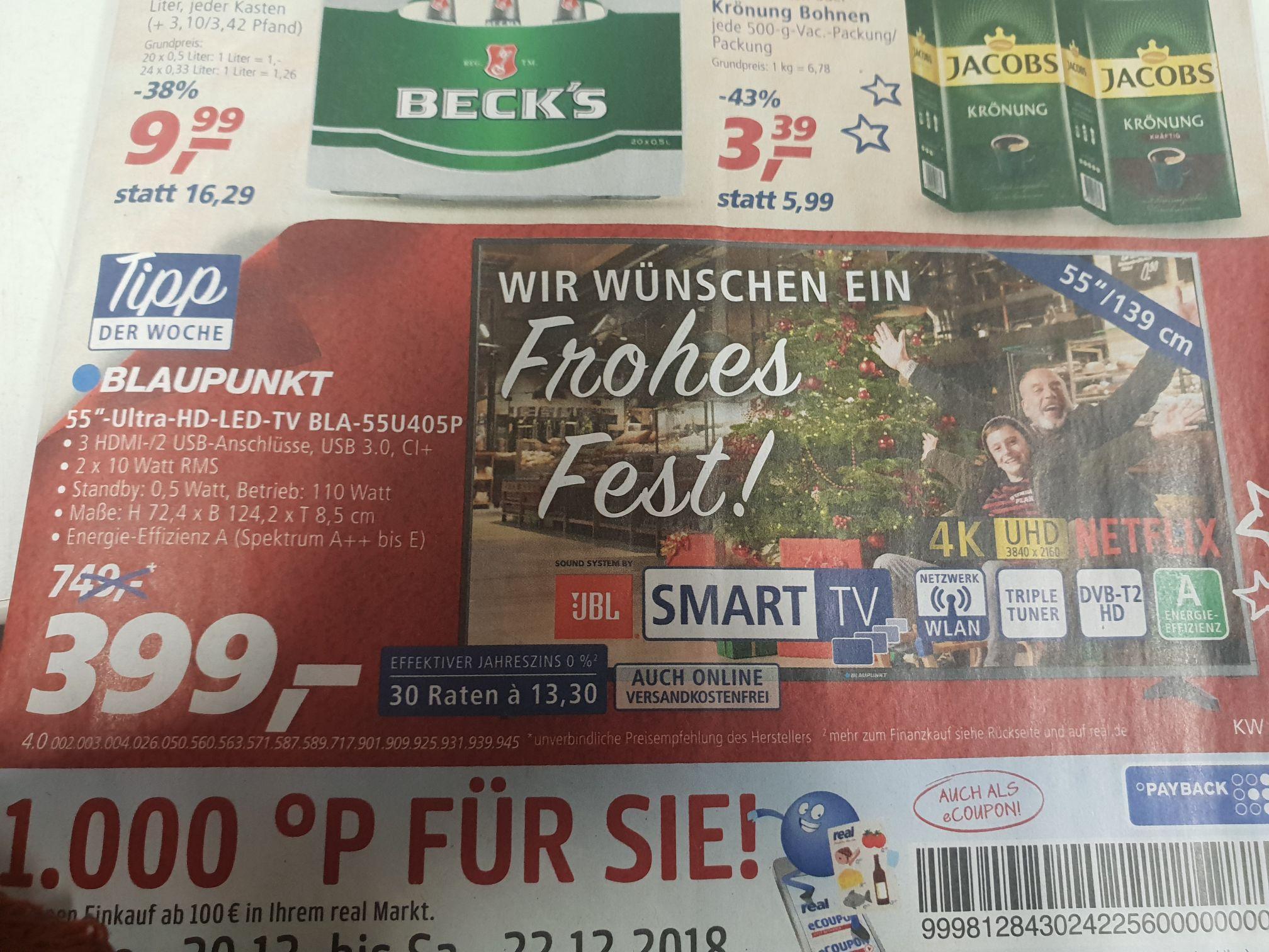 "Blaupunkt 55"" U-HD LED-TV für 399€ bei Real"