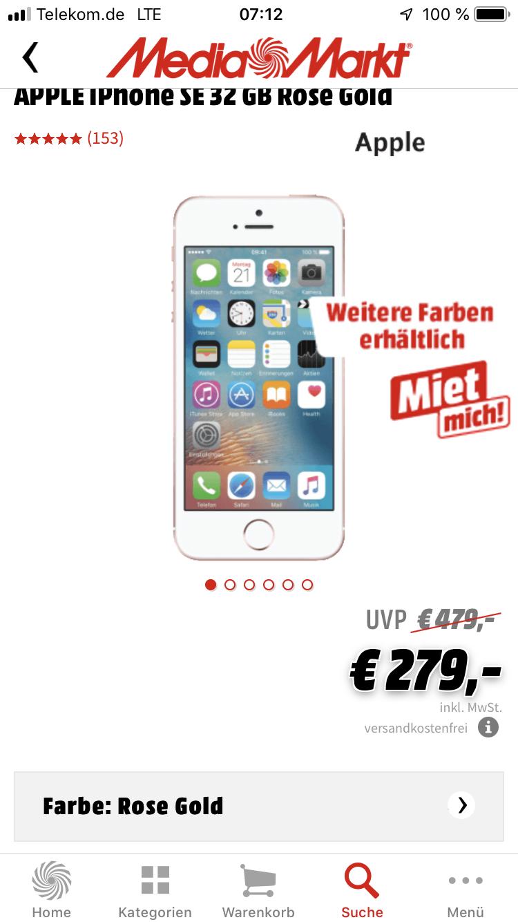 apple iphone se im mediamarkt für 279€