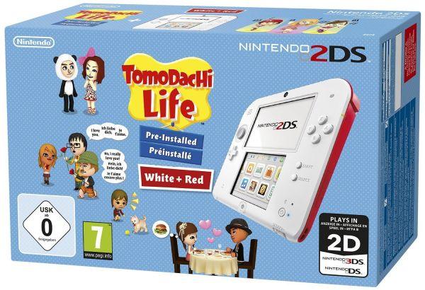 Nintendo 2DS Konsole rot/weiß + Tomodachi Life vorinstalliert (Portofrei inkl. Weihnachtsmütze)