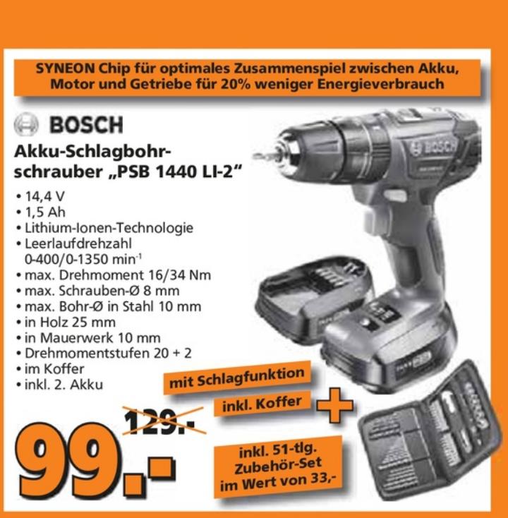 Bosch (grün) Akkuschrauber PSB 1440 LI-2 inkl. 2 Akku+Bohrerset 51-teilig