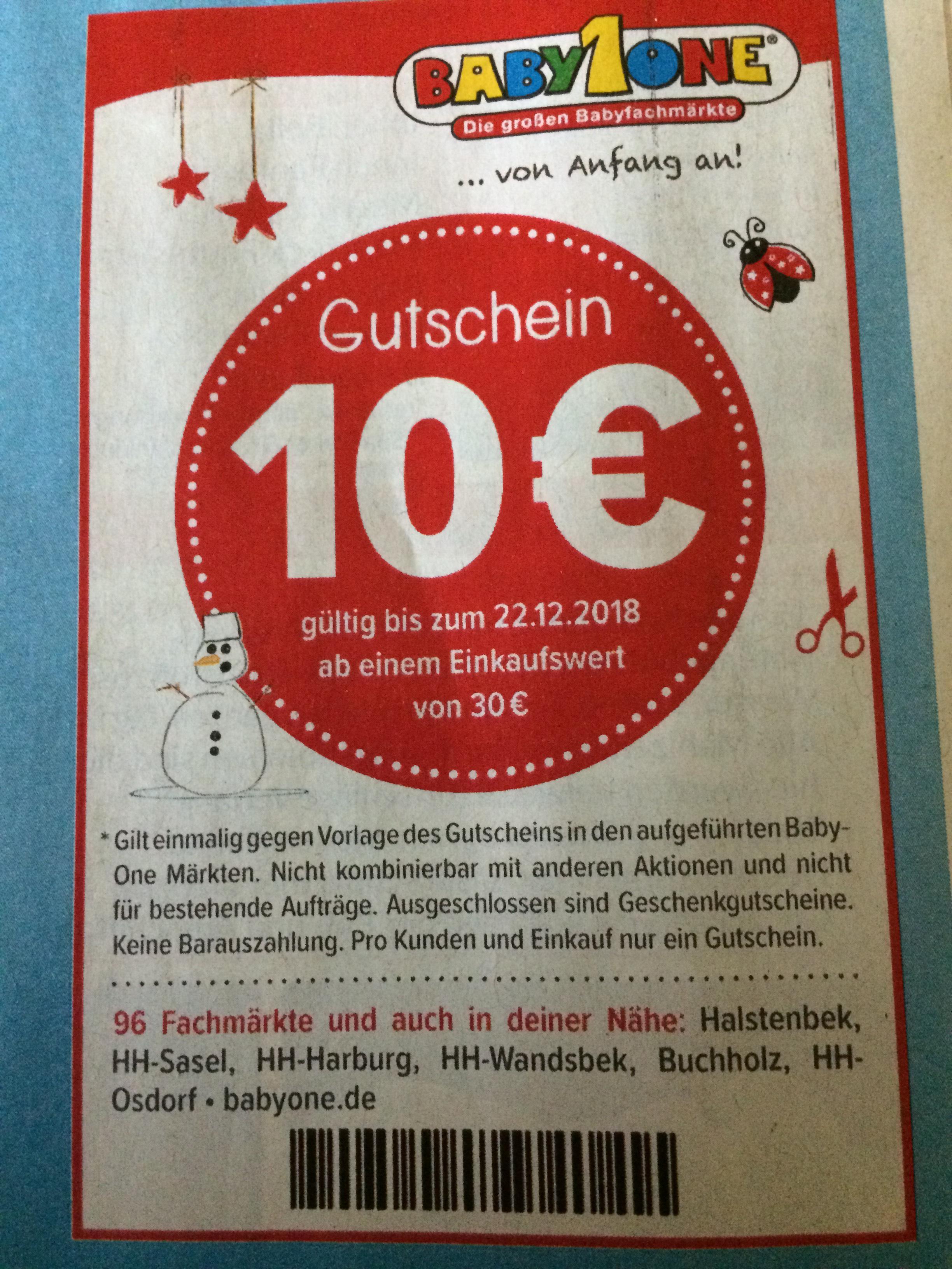 Lokal Hamburg Baby one 10€ Gutschein ab 30€