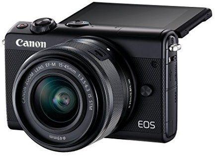 Canon EOS M100 Systemkamera (24,2MP, 7,5 cm (3 Zoll) Display, WLAN, NFC, Bluethooth, Full HD) Kit mit EF-M 15-45 mm f/3.5-6.3 IS STM schwarz
