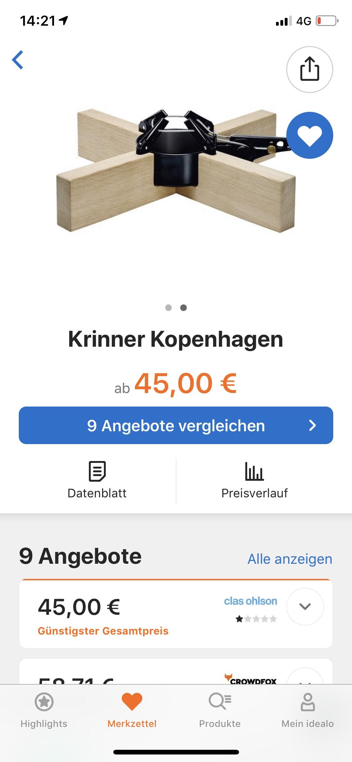 [clasohlson.de] Krinner Kopenhagen 2,5 m / 12 cm Christbaumständer - 50,95 €