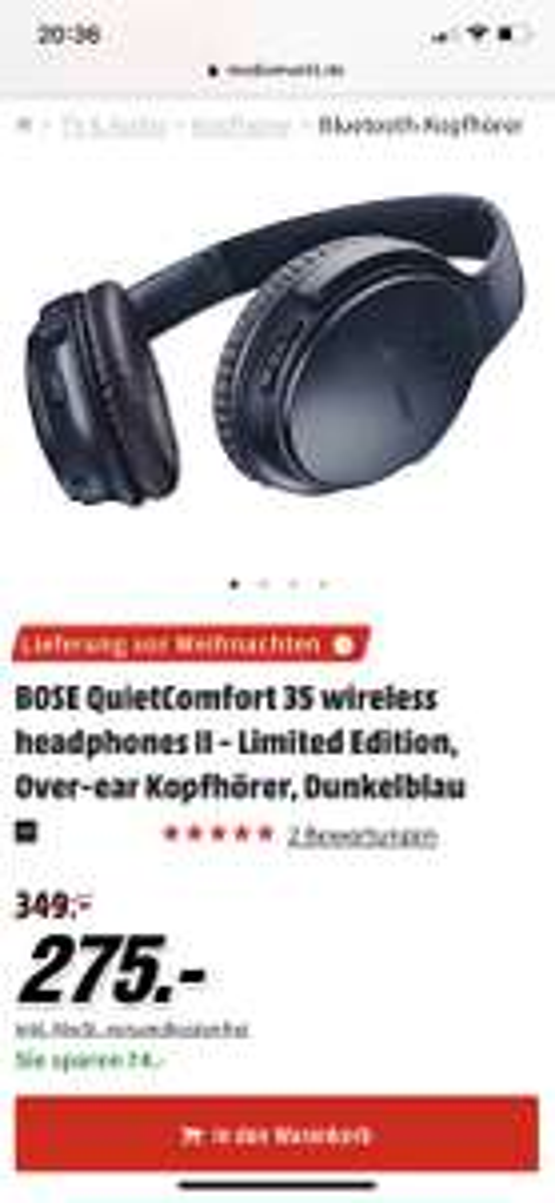 BOSE QuietComfort 35 wireless headphones II - Limited Edition, Over-ear Kopfhörer, Dunkelblau