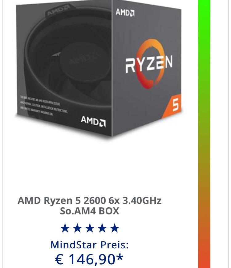AMD Ryzen 5 2600 BOX bei MF im Mindstar