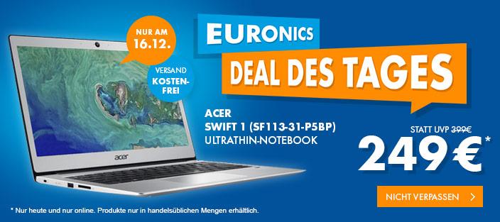 "Nur heute (16.12) Euronics Online - Acer Swift SF113-31-P5BP 33,8 cm (13,3"") Notebook silber - 249€ Versandkostenfrei"