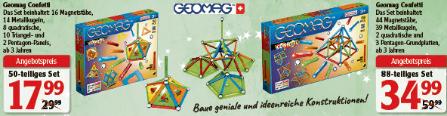 [Globus Hattersheim Lokal] Konstruktionsspielzeug Geomag Confetti 50-tlg. Set 17,99€ / Geomag Confetti 88-tlg. Set 34,99€ ab 17.12.2018