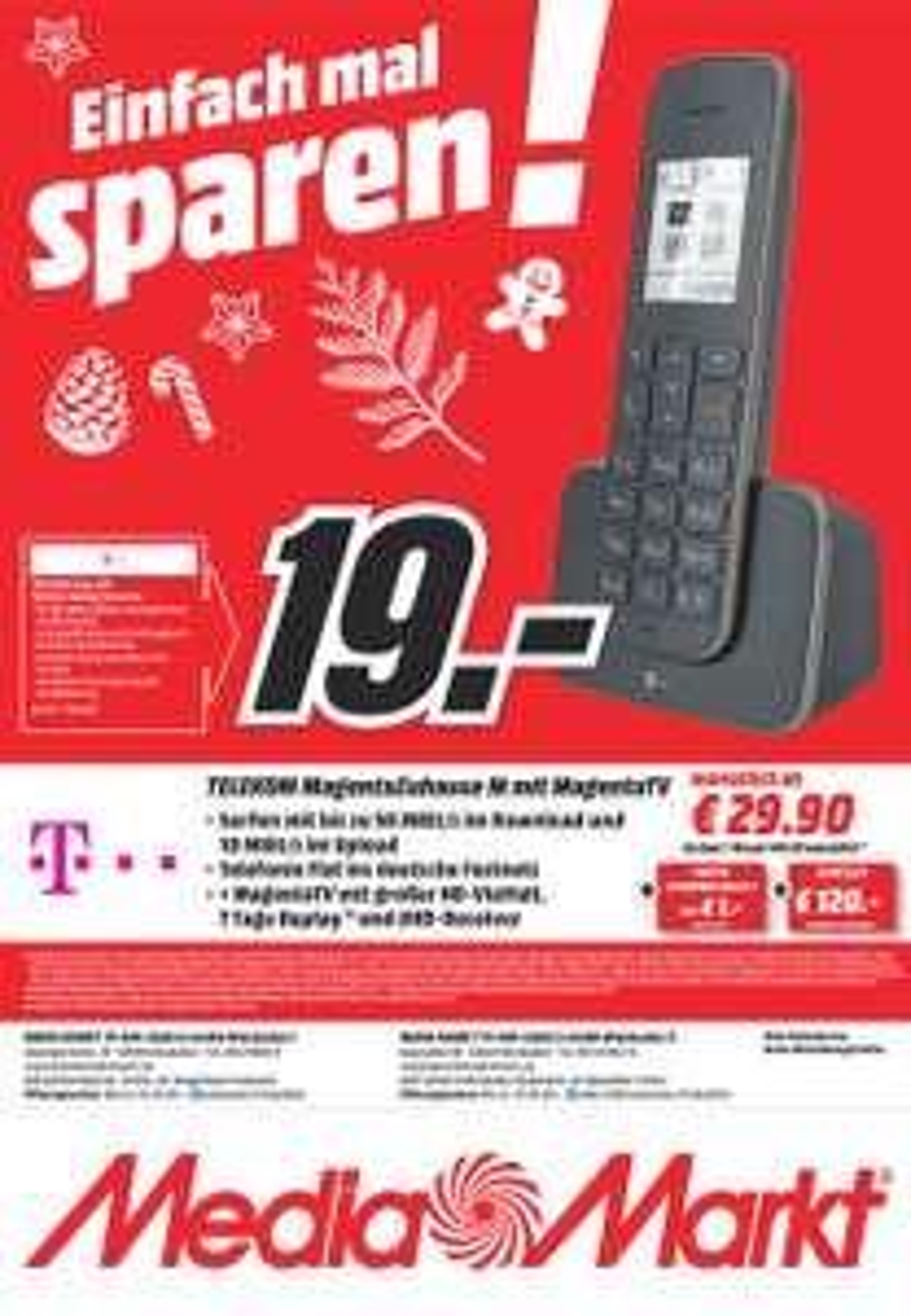 Media Markt Wiesbaden-Hasengarten, Telekom Sinus 207 DECT Phone in schwarz für 19 Euro