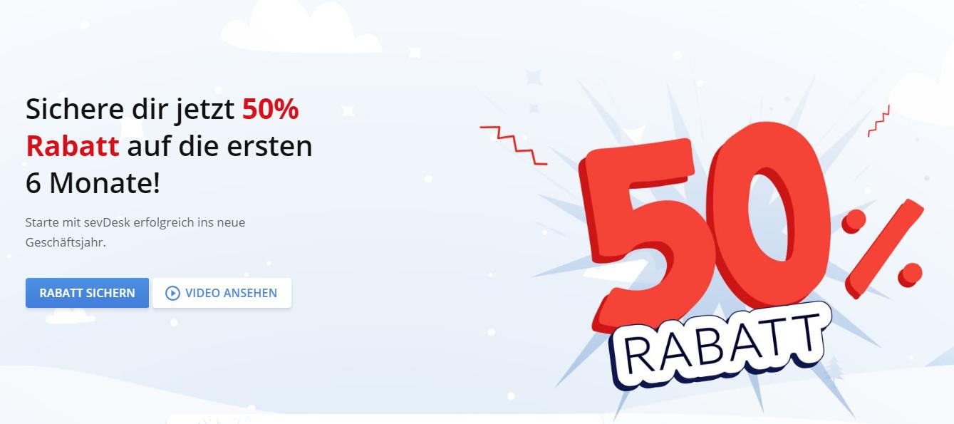 Buchhaltungssoftware sevDesk: 50% Rabatt auf das erste halbe Jahr (Neu- & Bestandskunden)