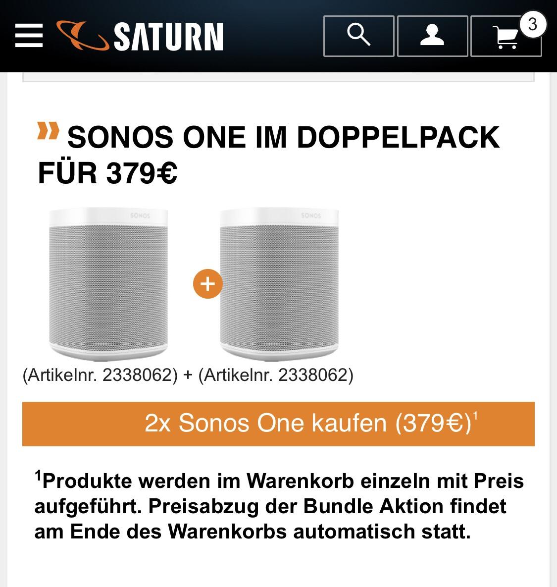 Sonos One Stereo Paar Lautsprecher bei Saturn, Media Markt und Amazon