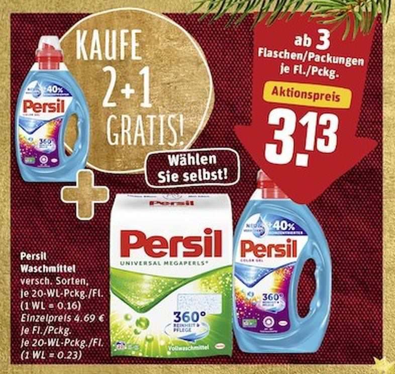 [REWE] 3x Persil 18/20WL (alle Sorten) für 2,70€ (=0,90€/Packung // 0,05€/WL) Bundesweit + Gratis Kinderbuch