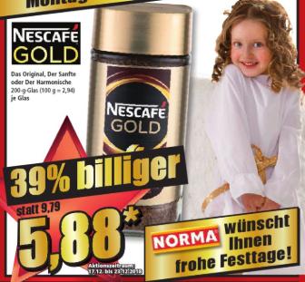 Nescafe Gold 200g für 5,88 bei NORMA