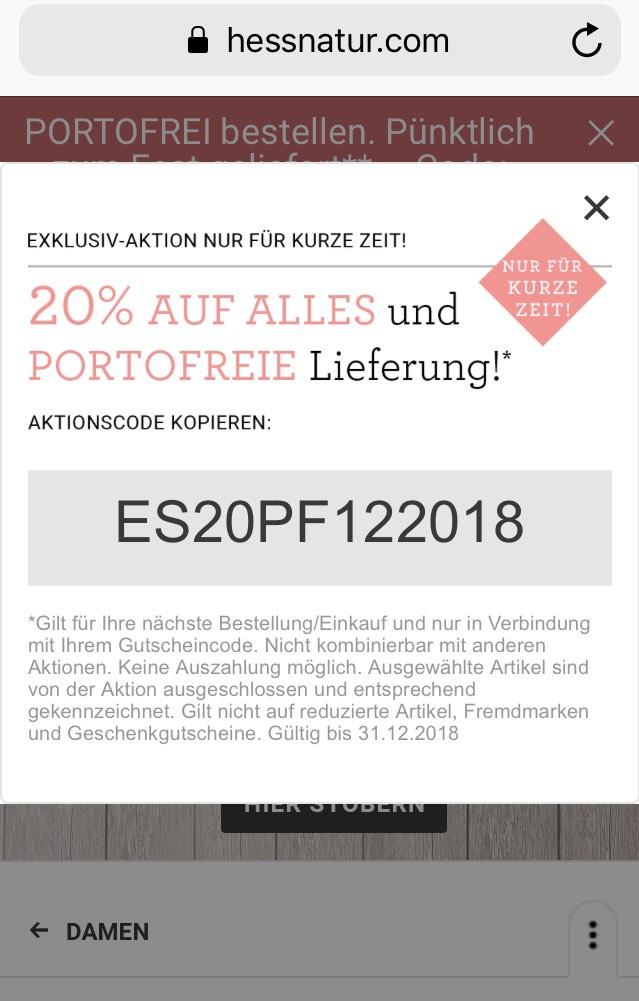 Hessnatur 20% auf Alles + portofreie Lieferung bis 31.12.2018