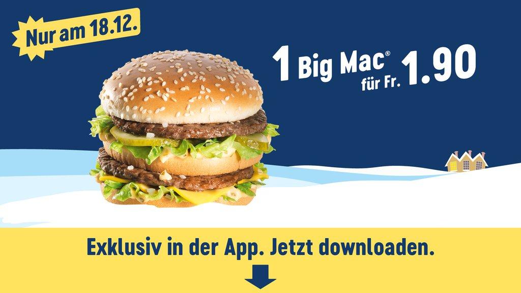 [McDonalds Schweiz und Liechtenstein] BigMac für 1,90 chf, SmallMenü für 7 chf im Adventskalender, nur am 18.12.2018