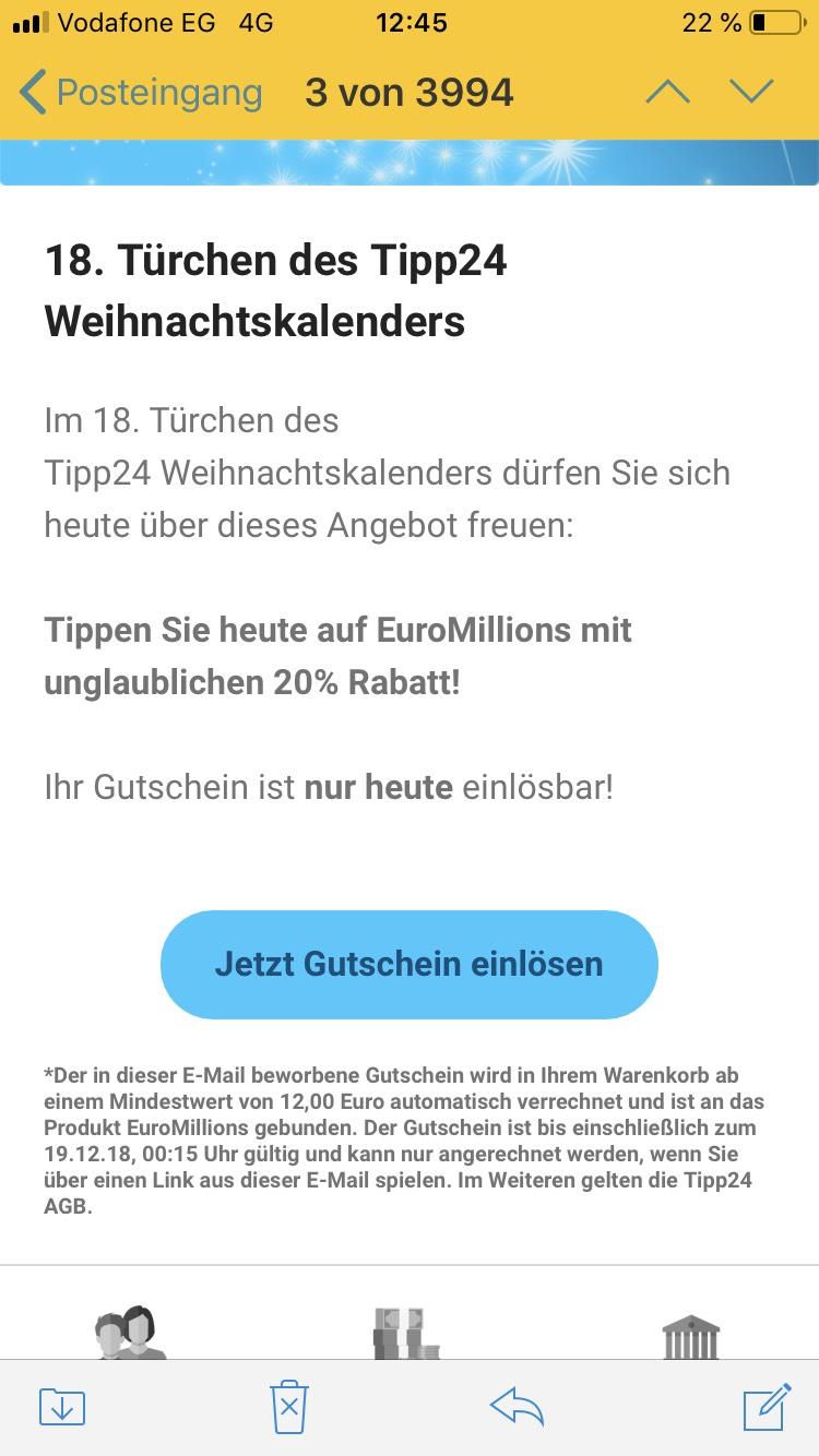 20% EuroMillions bei Tipp24 Bestandskunden