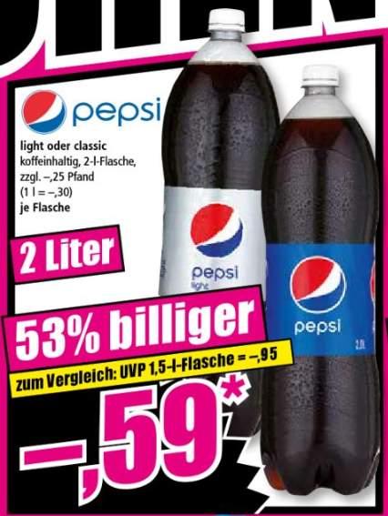 [ Norma ] 28.12 und 29.12 - Pepsi Cola Classic oder Light 2 Liter für 0.59€ zzgl 0.25€ Pfand