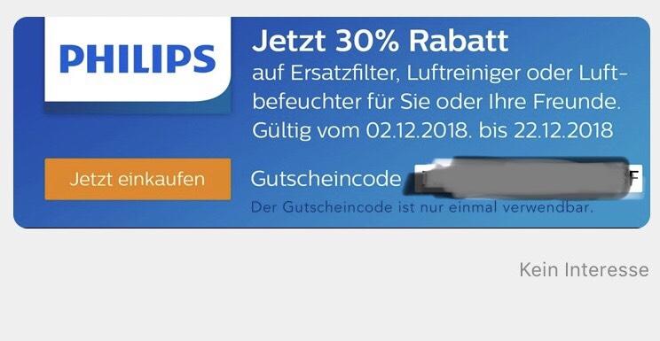 [Philips-Onlineshop] -30% auf Ersatzfilter, Luftreiniger und -befeuchter