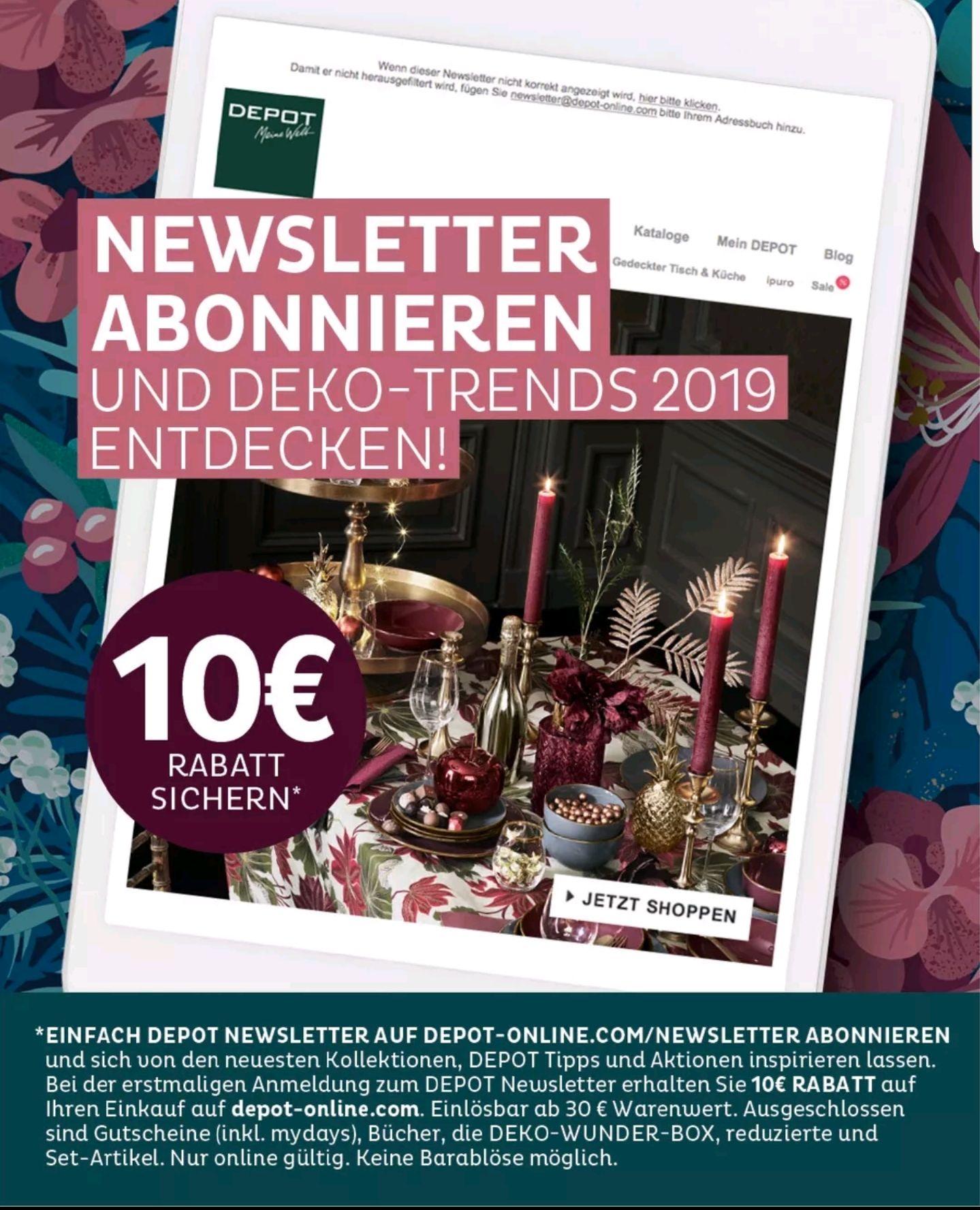 DEPOT 5€ Newsletterrabatt ab 30€ Mindestbestellwert
