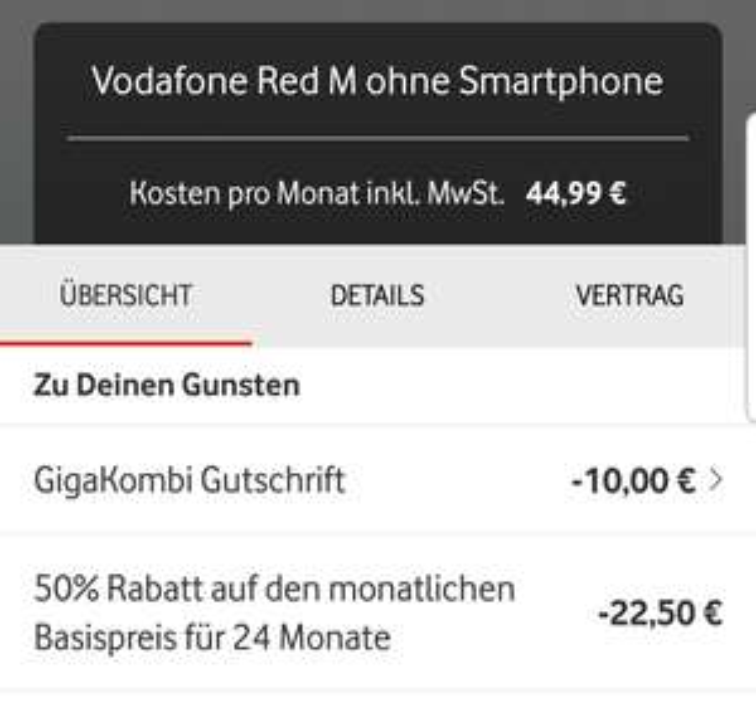 50% Rabatt Aktion auf den Grundpreis bei der Vodafone Kundenrückgewinnung (Vodafone Red SIM Only)