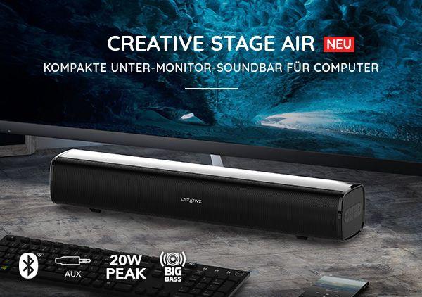 Creative Stage Air Soundbar+ Creative Hitz MA500 Kopfhörer In Ear