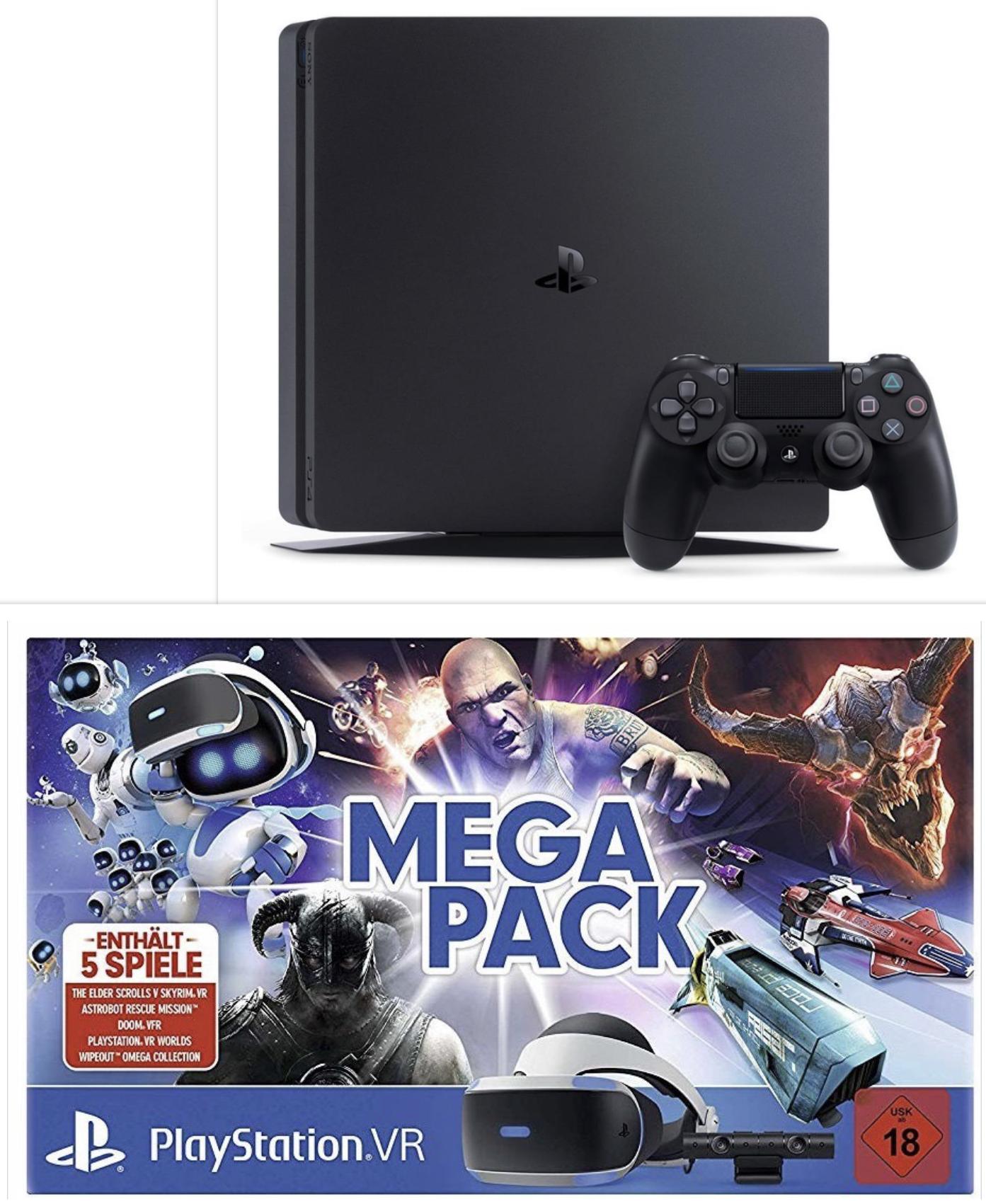 PlayStation VR MEGAPACK VR Brille + Kamera + 5 Spiele für 215,99€ oder VR + Cam + Worlds + AstroBot 188,99€ oder PS4 Slim 500GB für 188,99€
