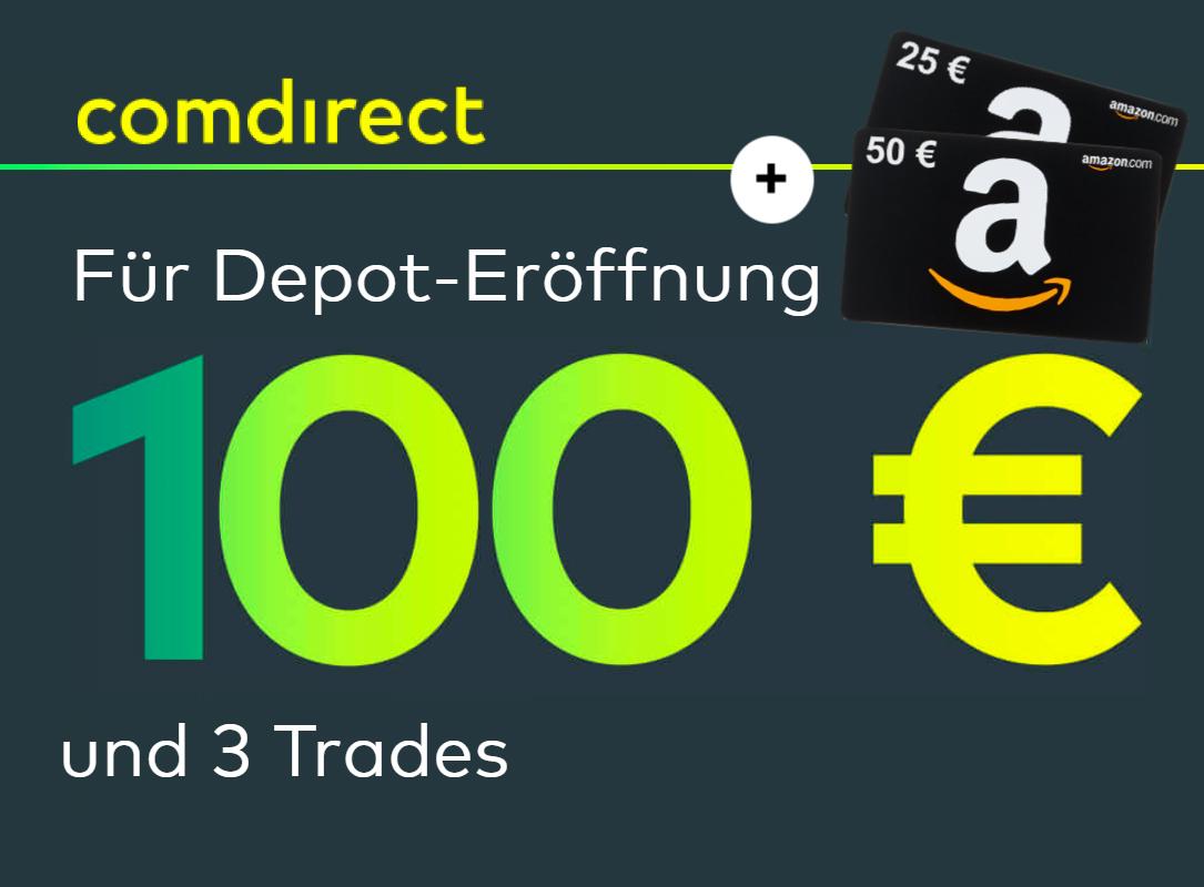 LETZTE CHANCE: 175€ für comdirect Neukunden: kostenloses Depot mit 100€ Prämie für 3 Trades + 75€ Amazon Gutschein nur für Eröffnung
