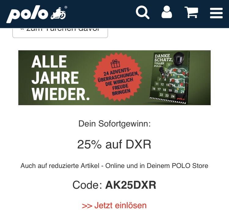 Nur heute 25% auf Produkte von DXR bei Polo-Motorrad