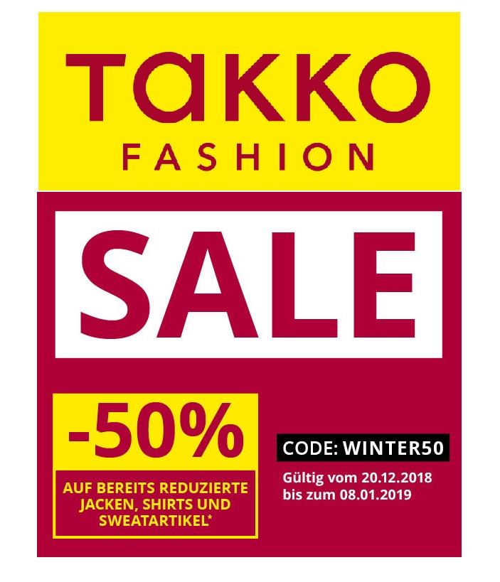 Takko: Jetzt 50% Rabatt auf bereits reduzierte Jacken und Sweatshirts!