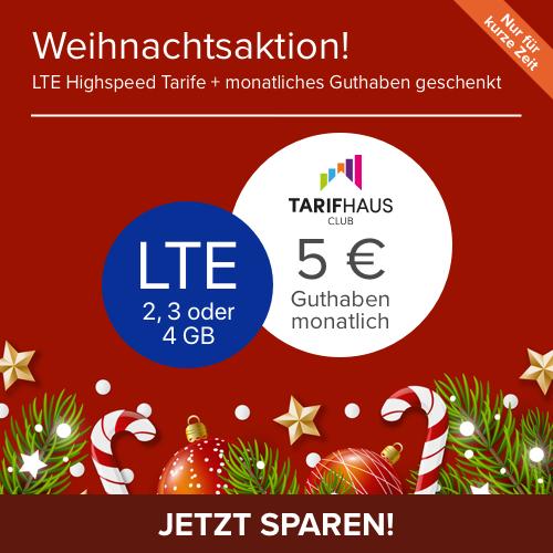 Weihnachten bei Tarifhaus: SIM-Only Tarife (2-4GB LTE), Allnet- & SMS-Flat, mtl. 5€ Guthaben, Int. Paket, Festnetznummer, 6 Monate MVLZ