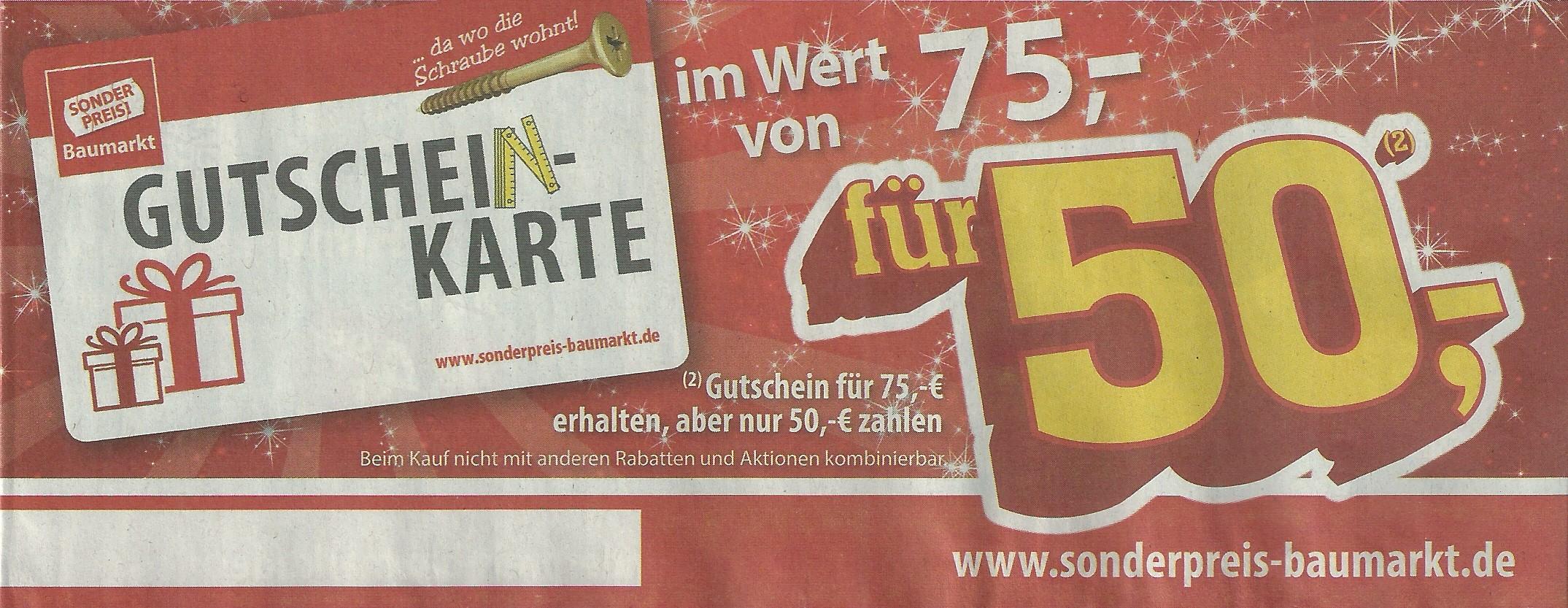 75€ Gutscheinkarte für 50€ Sonderpreisbaumarkt