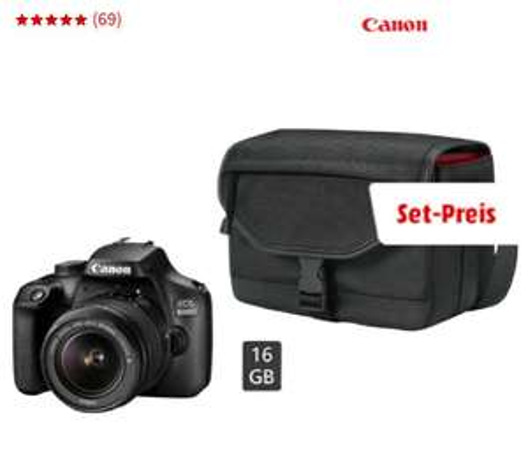 Canon EOS 4000D Kit 18-55mm DC III Spiegelreflexkamera inkl. Tasche und Speicherkarte 16GB (Mediamarkt)