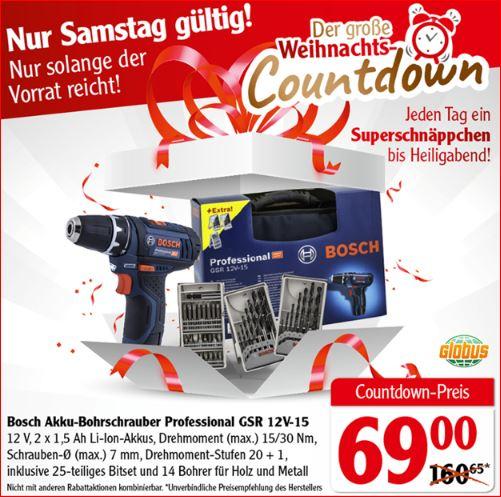 Bosch Akku-Bohrschrauber Professionell GSR 12V-15 für 69 Euro [Globus]