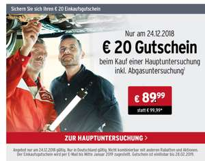 20 € Gutschein beim Kauf einer HU/AU - A.T.U