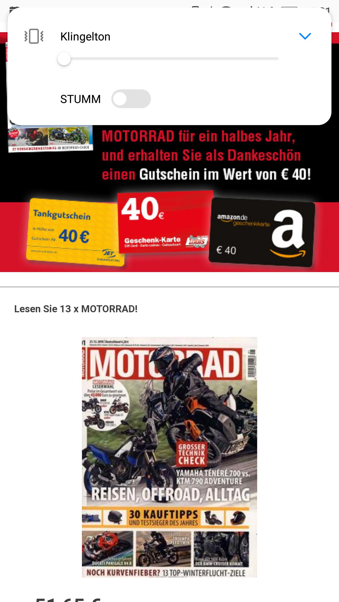6-Monats-Abo/ 13 Hefte MOTORRAD