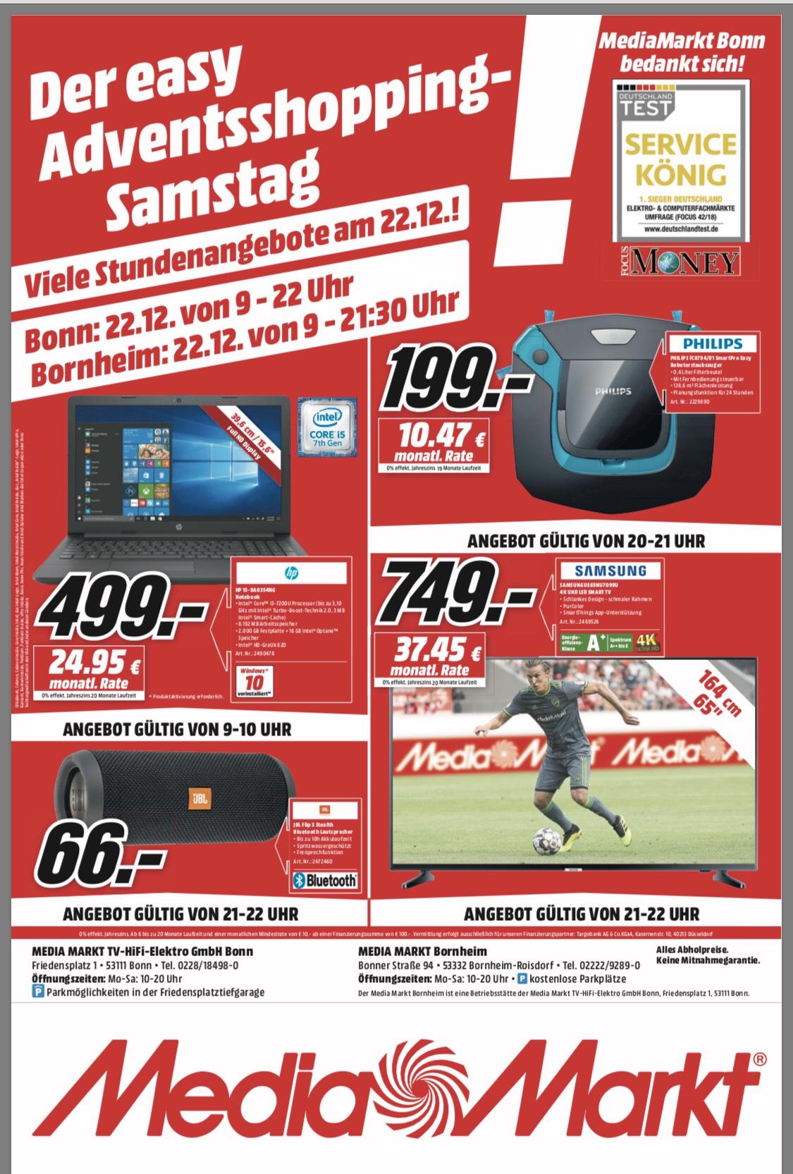 [Lokal MediaMarkt Bonn Bornheim] JBL Flip 3 Samsung UE65NU7099