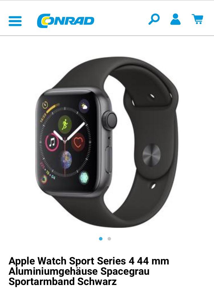 [Schweiz] Apple Watch Series 4 Aluminiumgehäuse Spacegrau Sportarmband Schwarz