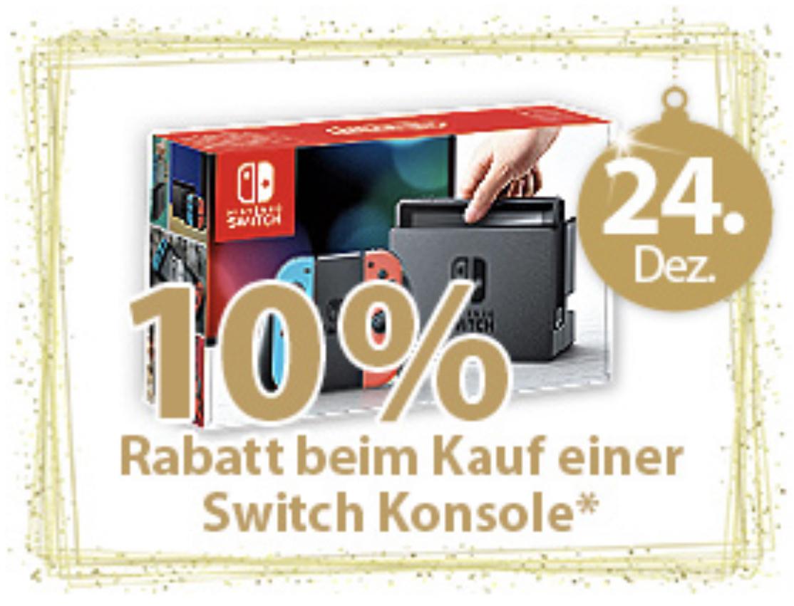 10% Rabatt beim Kauf einer Nintendo Switch Konsole am 24.12. - z.B. beide Farben 269,10€ oder Pokemon Let's Go Pikachu Bundle für 341,10€