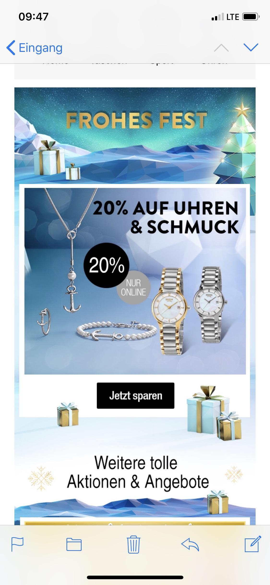Galeria Kaufhof 20 % Auf Uhren und Schmuck