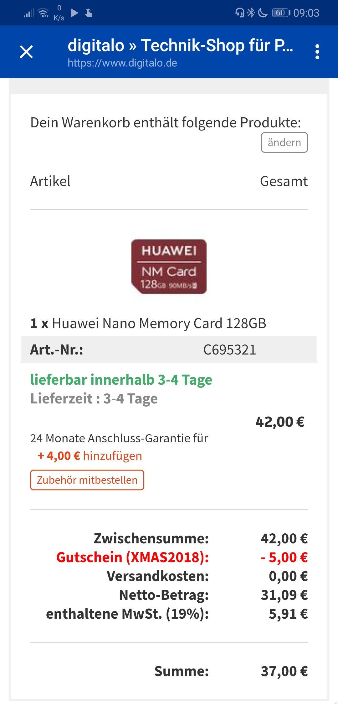 Huawei nano memory card 128 GB (Digitalo)