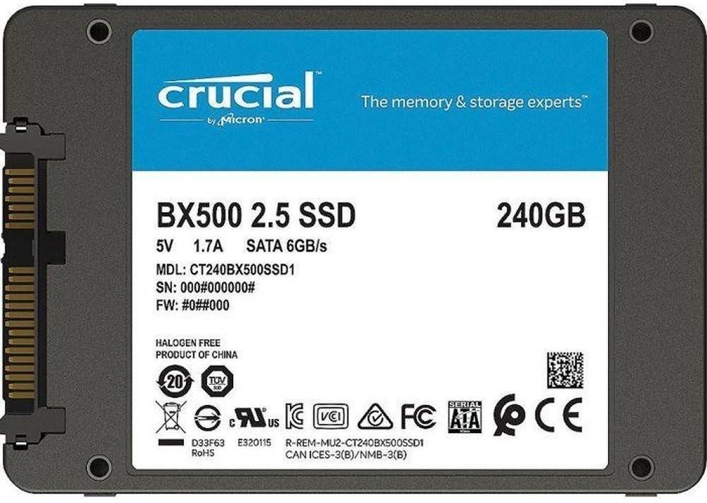 Crucial BX500 240GB, SATA SSD (3D-NAND TLC, R540, W500)   BX500 960GB für 118,95€ statt 132,90€