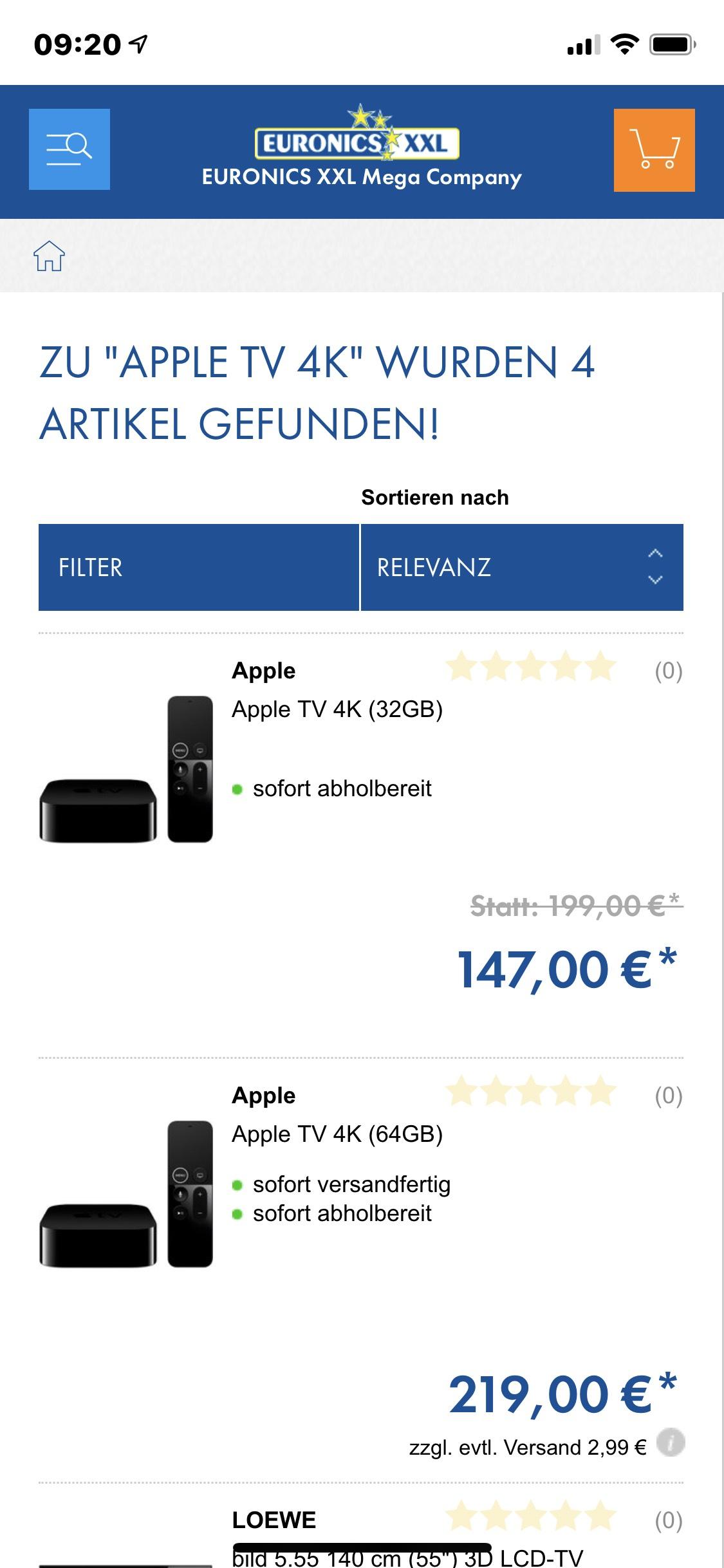[Lokal Balingen/Tuttlingen] Apple TV 4K 32 GB