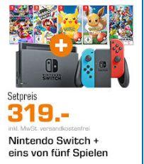 Nintendo Switch Konsole + Super Smash Bros. Ultimate - Nintendo Switch für 319,-€ *Auch andere Kombis möglich [Saturn/Mediamarkt]
