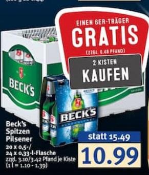 2 Kisten Beck's + 6er Träger gratis bei Combi
