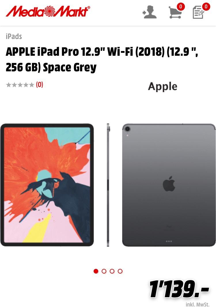 [Schweiz] APPLE iPad Pro 12.9″ (2018) Wi-Fi, 256GB, Space Grau bei MediaMarkt