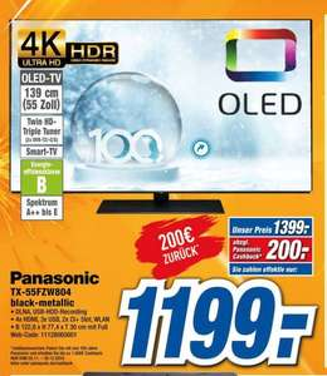 [Regional-Expert Gröblinghoff] PANASONIC TX-55FZW804  (Flat, 55 Zoll, OLED 4K, SMART TV,) für 1439,-€ abzgl. 200€ Cashback