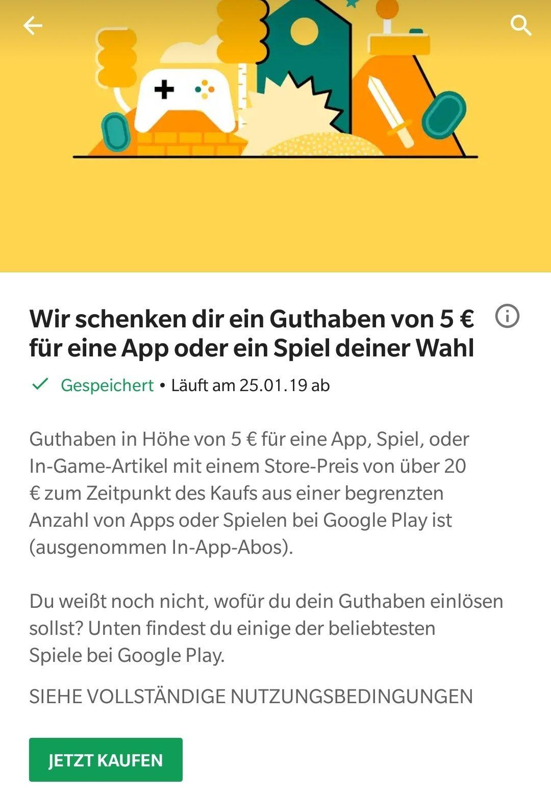 Google Play verschenkt 5-10€  Guthaben