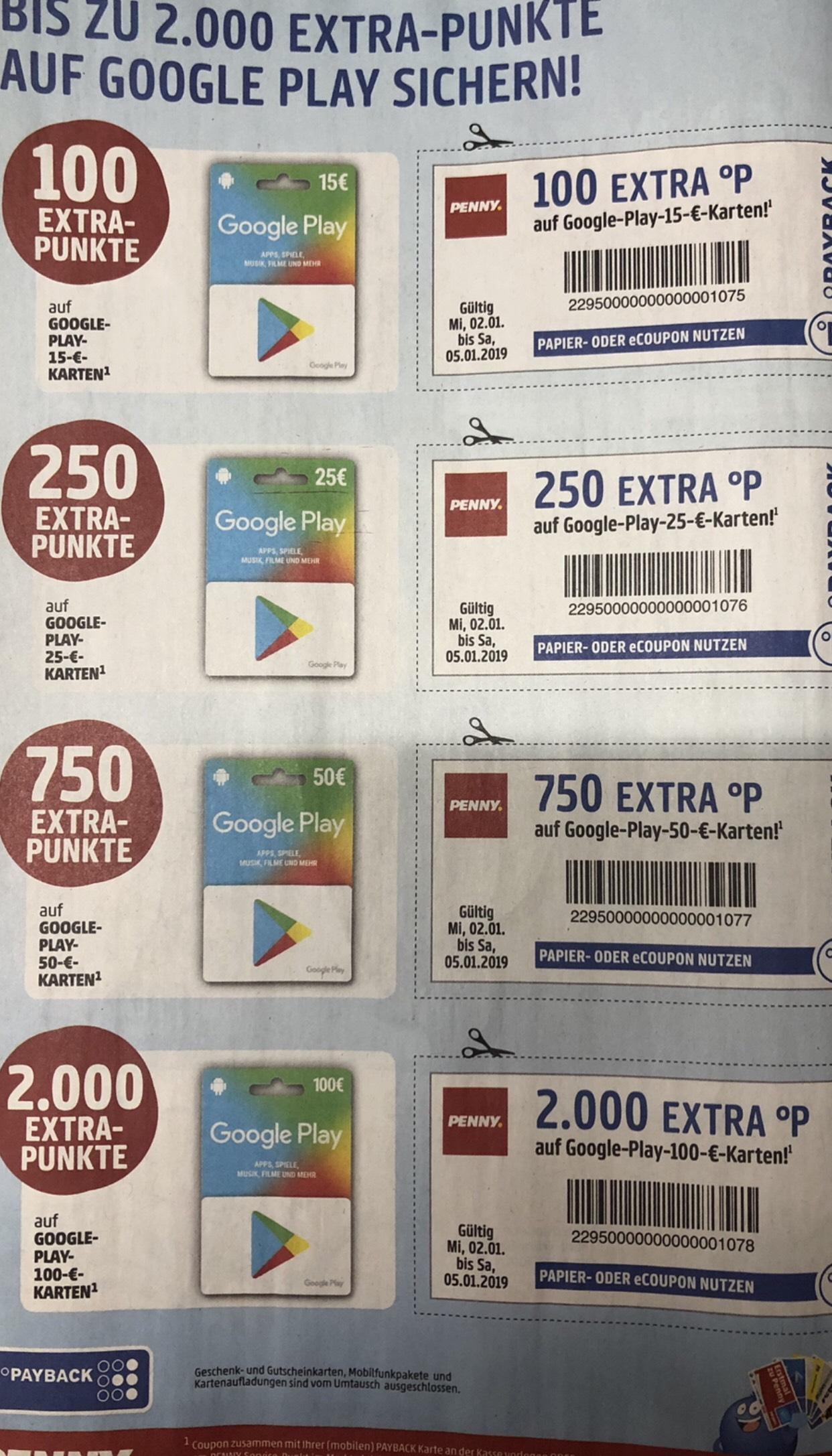 [Penny] Google Play Guthaben mit bis zu 2000 Payback Punkte (eff. Bis 20%)