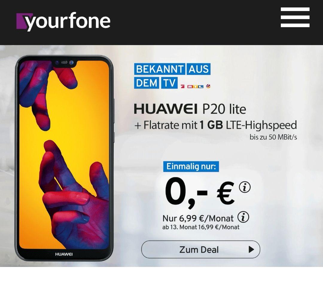 yourfone Tarif & HUAWEI P20 Lite für 6,99€ ab dem 13. Monat 16,99€